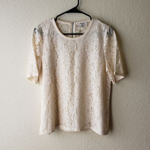 Madewell Lace Refined Ivory Top Size Medium